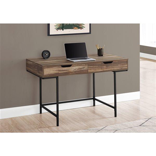 Bureau d'ordinateur moderne/contemporain Monarch Specialties de 47,25 po, brun