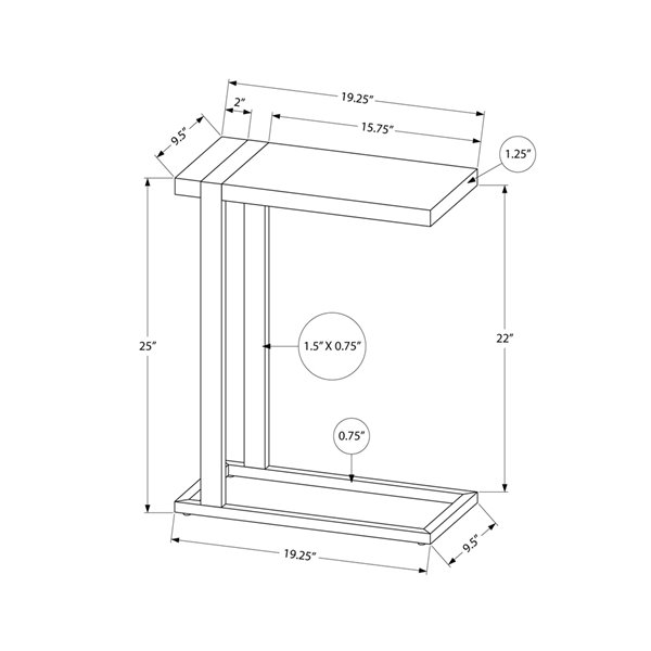 Table rectangulaire en forme de C composite par Monarch Specialties, composite brun