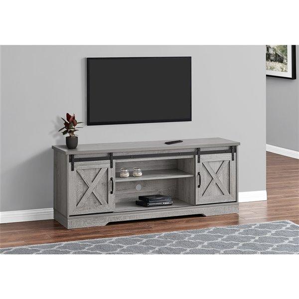 Meuble de télé imitation bois, gris, de Monarch Specialties