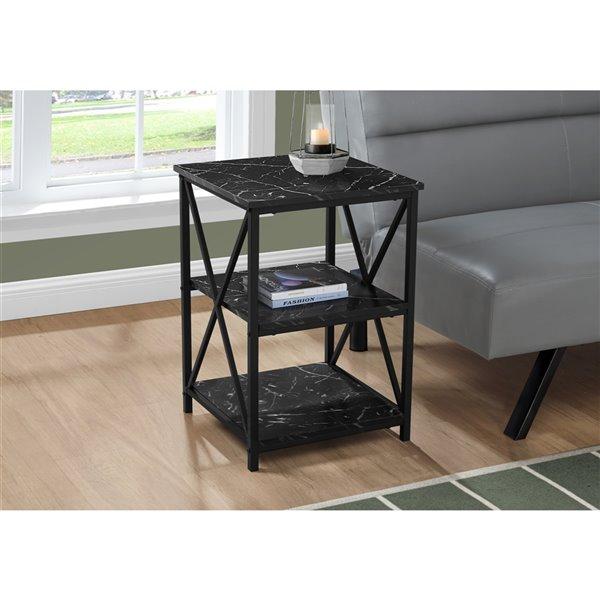 Table d'appoint carrée en composite noir par Monarch Specialties