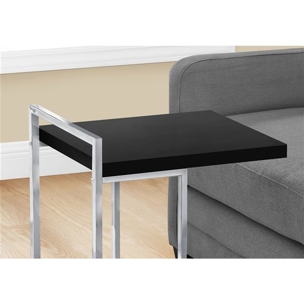 Table rectangulaire en forme de C par Monarch Specialties, composite noir