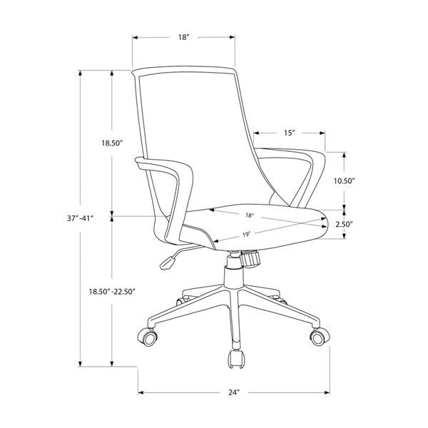 Fauteuil de bureau, à hauteur ajustable, directionnel, contemporain, blanc et gris, de Monarch Specialties