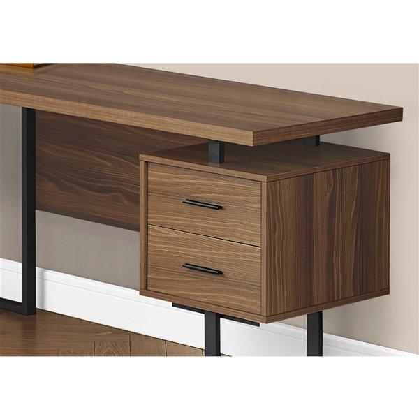 Monarch Specialties 47.25-in Walnut Brown Modern/Contemporary L-Shaped Desk