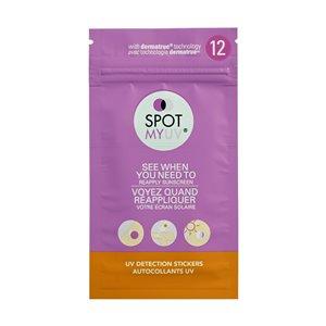 Autocollants de détection UV pour crème solaire SPOTMYUV, paquet de 12