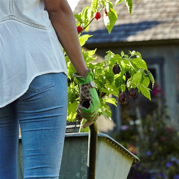 Gants de jardin en poly/coton vert pour femmes Handwear par Dig It, petite/moyenne taille