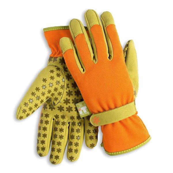 Gants de jardin en poly/coton orange pour femmes Handwear par Dig It, taille grande