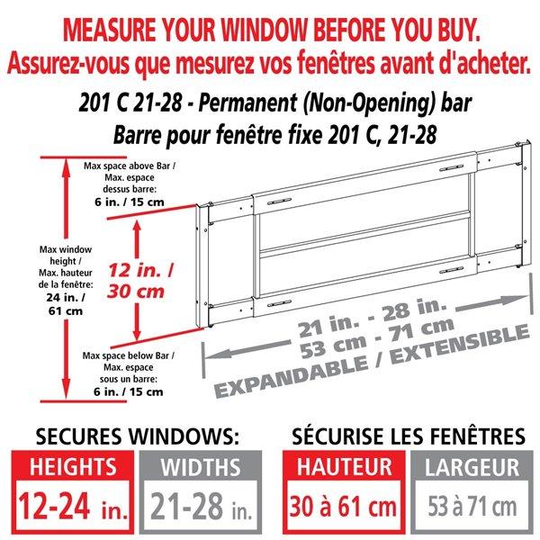 Barre de sécurité blanche pour fenêtre Série C de 21 po x 12 po ajustable et fixe par Mr. Goodbar