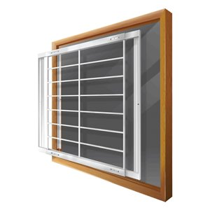 Barre de sécurité blanche pour fenêtre Série F de 42 po x 41 po ajustable et amovible par Mr. Goodbar
