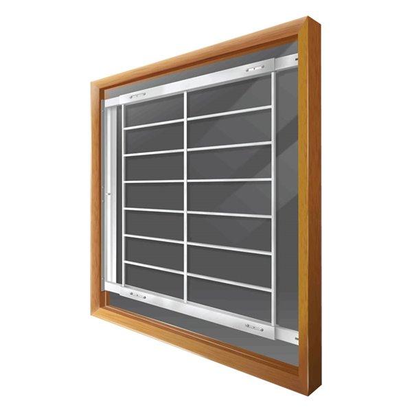 Barre de sécurité blanche pour fenêtre Série F de 42 po x 41 po ajustable et pivotante par Mr. Goodbar