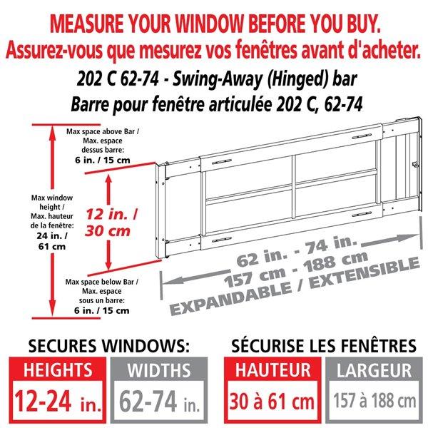 Barre de sécurité blanche pour fenêtre Série C de 62 po x 12 po ajustable et pivotante par Mr. Goodbar