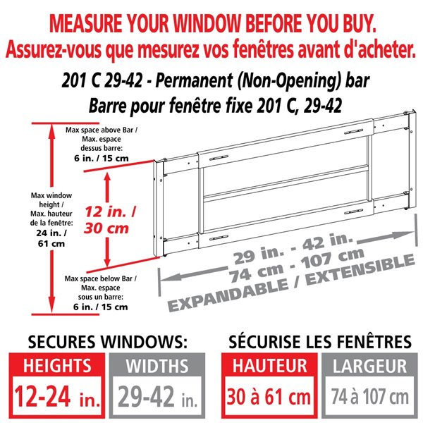 Mr. Goodbar Series C 29-in x 12-in Adjustable White Fixed Window Security Bar