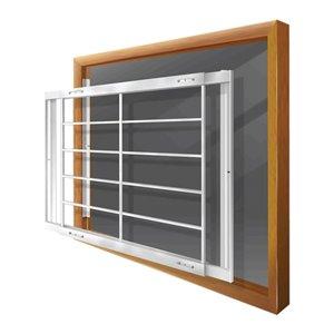 Barre de sécurité blanche pour fenêtre Série E de 62 po x 31 po ajustable et amovible par Mr. Goodbar