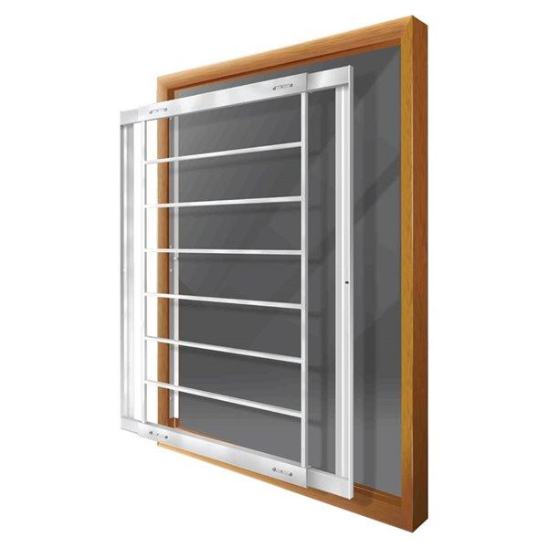 Barre de sécurité blanche pour fenêtre Série F de 21 po x 41 po ajustable et amovible par Mr. Goodbar
