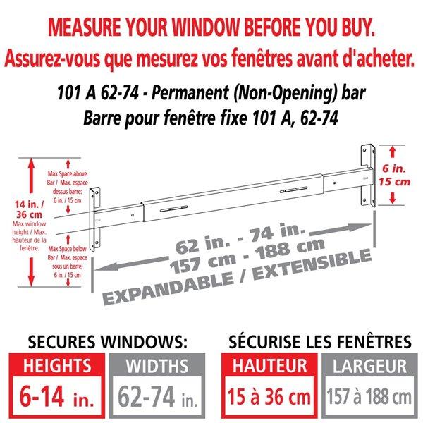 Barre de sécurité blanche pour fenêtre Série A de 62 po x 6 po ajustable et fixe par Mr. Goodbar