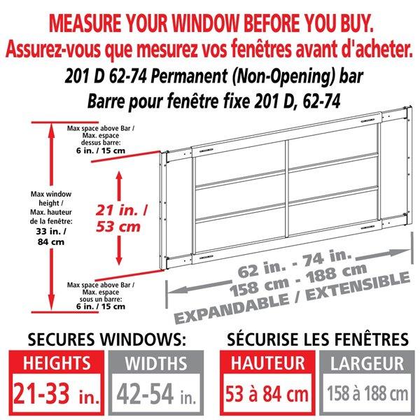 Barre de sécurité blanche pour fenêtre Série D de 62 po x 21 po ajustable et fixe par Mr. Goodbar