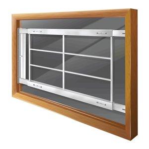 Barre de sécurité blanche pour fenêtre Série D de 62 po x 21 po ajustable et pivotante par Mr. Goodbar