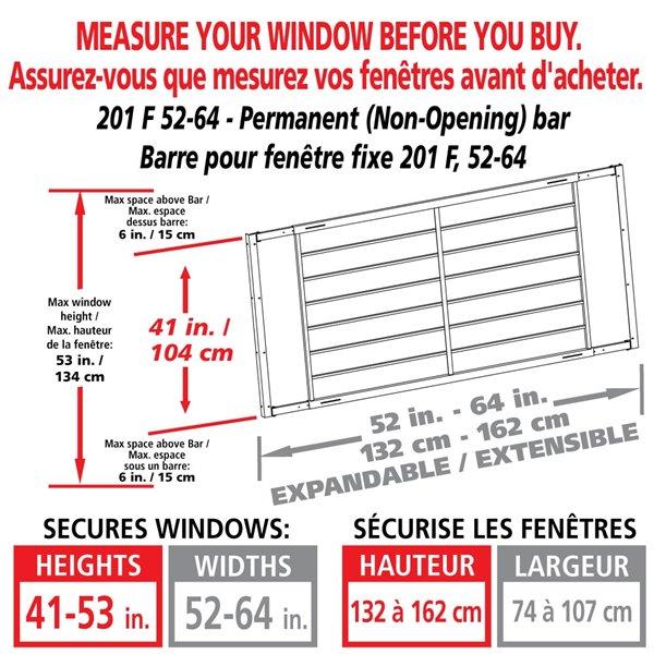 Barre de sécurité blanche pour fenêtre Série F de 52 po x 41 po ajustable et fixe par Mr. Goodbar