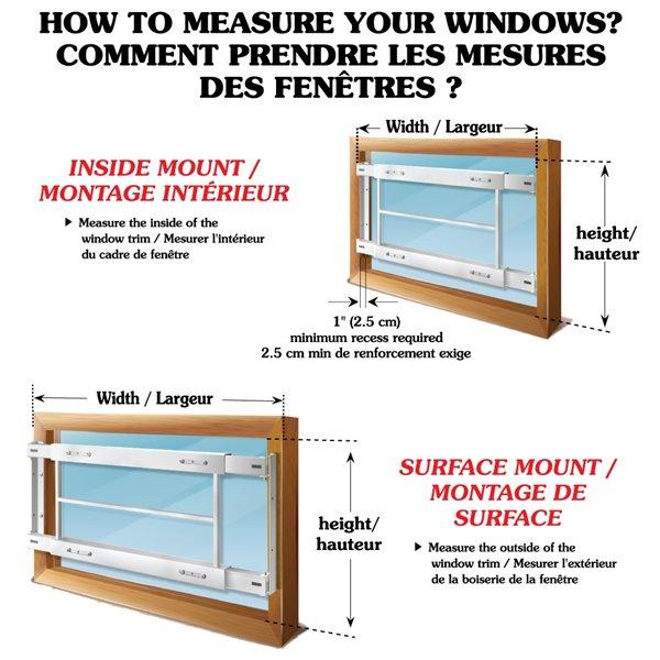 Barre de sécurité blanche pour fenêtre Série E de 62 po x 31 po ajustable et pivotante par Mr. Goodbar