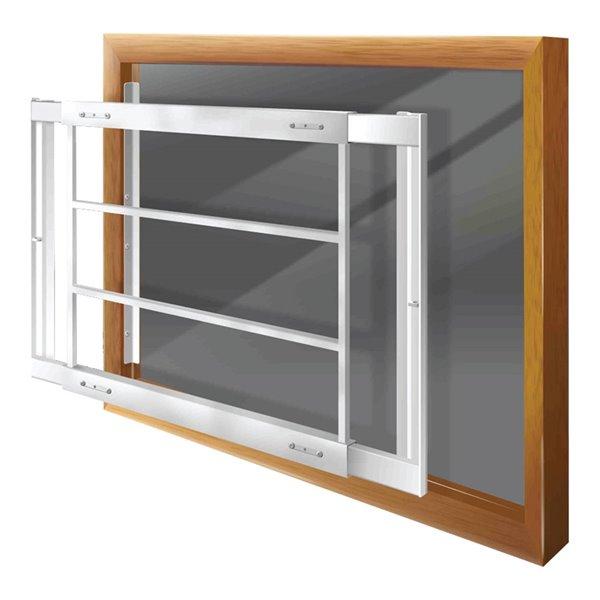 Barre de sécurité blanche pour fenêtre Série D de 29 po x 21 po ajustable et amovible par Mr. Goodbar