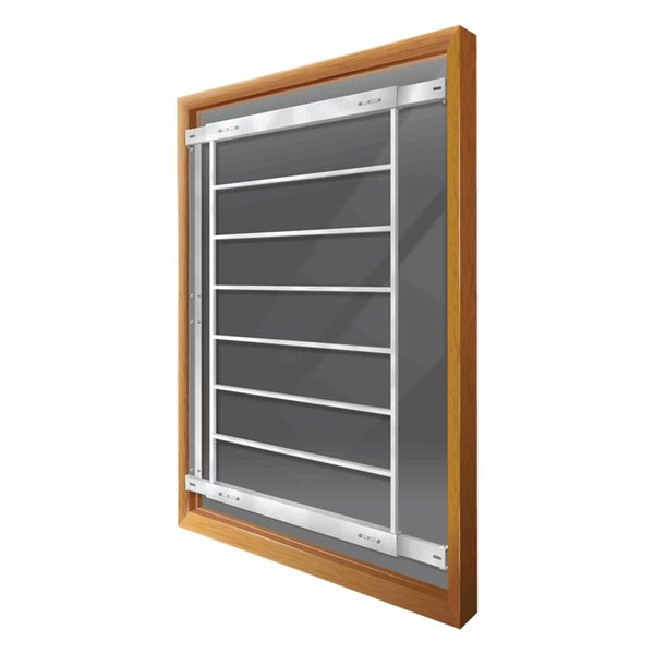 Barre de sécurité blanche pour fenêtre Série F de 29 po x 41 po ajustable et fixe par Mr. Goodbar
