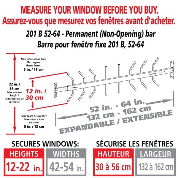 Barre de sécurité blanche pour fenêtre Série B de 52 po x 12 po ajustable et fixe par Mr. Goodbar