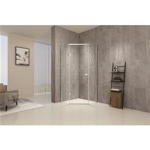 TRUSTMADE Chrome 76-in x 34.75-in x 34.75-in 3-piece Neo-angle Corner Shower Kit