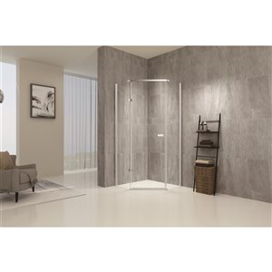 TRUSTMADE Brushed Nickel 76-in x 34.75-in x 34.75-in 3-piece Neo-angle Corner Shower Kit