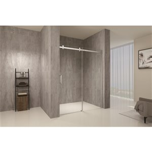 TRUSTMADE Clear 2-piece 76-in x 48-in x 76-in Alcove Shower Kit - Brushed Nickel
