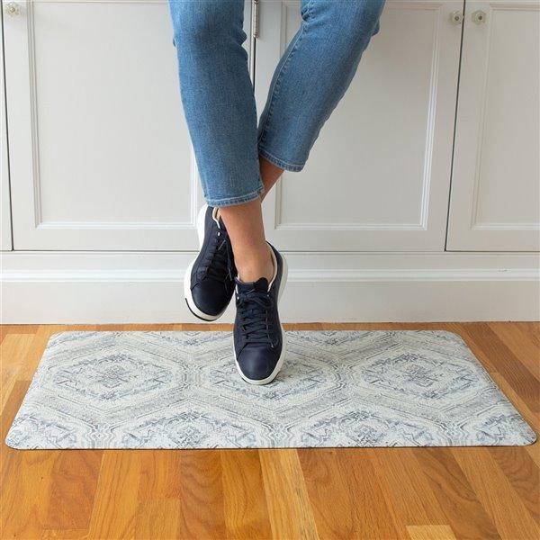Tapis anti-fatigue d'intérieur rectangulaire Harper par FloorPops, gris