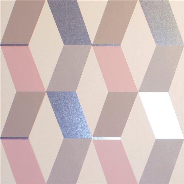 Papier peint sans colle en vinyle à motif géométrique Metallic par Advantage, 56,4 pi², multicolore