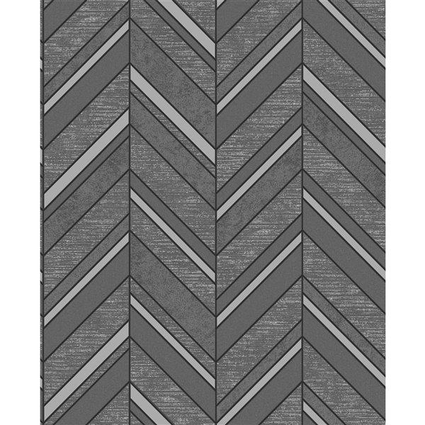 Papier peint sans colle en vinyle avec motif de chevron Deluxe par Advantage, 56,4 pi², noir