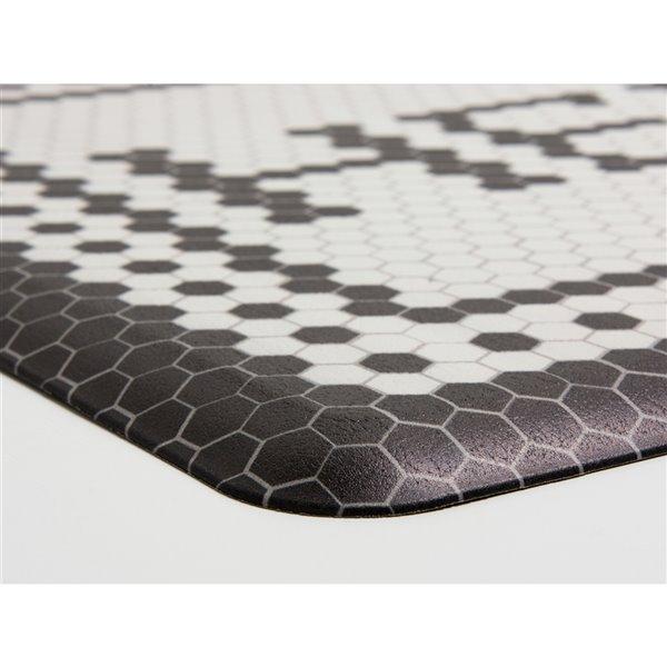 Tapis anti-fatigue d'intérieur rectangulaire Cobbler par FloorPops, noir