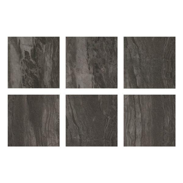 Carrelage en vinyle autocollant Raven par FloorPops, 12 po x 12 po, noir, 10 pièces
