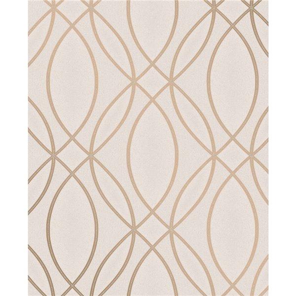 Papier peint sans colle en vinyle à motif géométrique Metallic par Advantage, 56,4 pi², rose/or