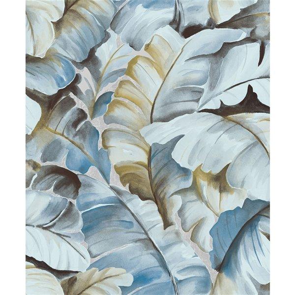 Papier peint sans colle en vinyle avec motif de vignes Deluxe par Advantage, 57,8 pi², bleu