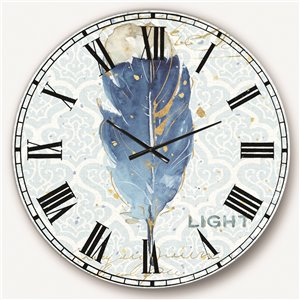 DesignArt 36-in x 36-in Blue Damask Feather Farmhouse Round Wall Clock