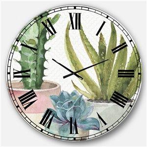 DesignArt 36-in x 36-in Mixed Green Element III Farmhouse Round Wall Clock