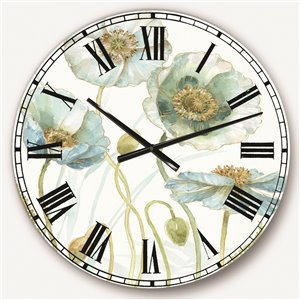 DesignArt 23-in x 23-in Blue Cottage Flowers Drawing I Farmhouse Round Wall Clock