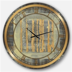 DesignArt 36-in x 36-in Galm Abstract II Glam Round Wall Clock