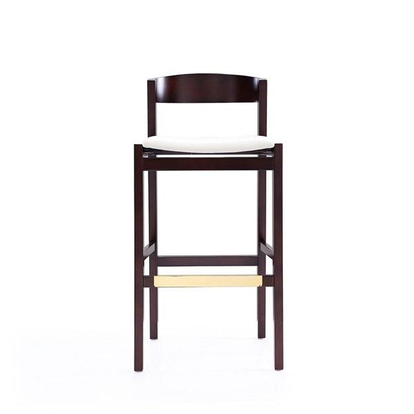 Tabouret de bar rembourré Klismos ivoire et noyer foncé à hauteur de bar (27 po à 35 po) par Manhattan Comfort, 2 pièces