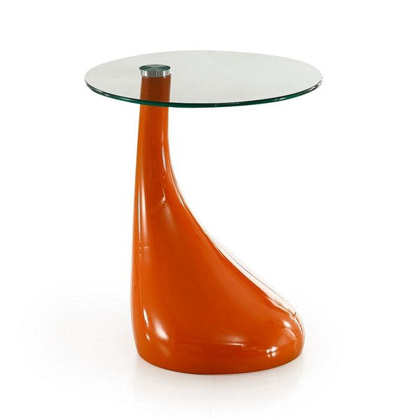 Table d'appoint Lava de Manhattan Comfort ronde orange en verre