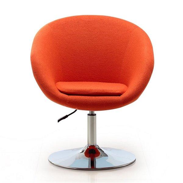 Ensemble de 2 chaises pivotantes moderne en chrome poli et laine orange de Manhattan Comfort