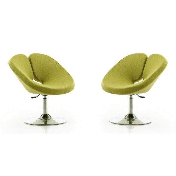 Ensemble de 2 chaises pivotantes Perch moderne en laine verte de Manhattan Comfort