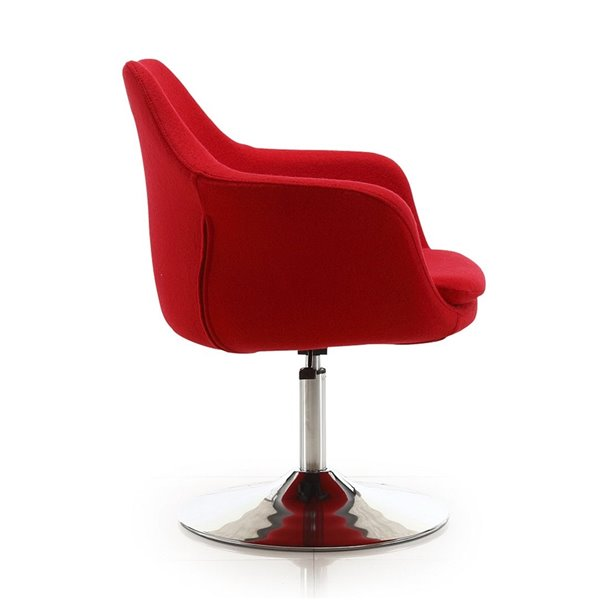 Chaise pivotante Kinsey moderne en chrome poli et laine rouge de Manhattan Comfort