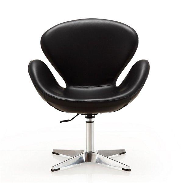 Ensemble de 2 chaises pivotantes Rasberry moderne en similicuir noire et chrome poli de Manhattan Comfort