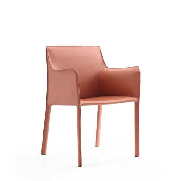 Fauteuil contemporain Paris rembourré en cuir véritable (cadre en métal) de Manhattan Comfort, ens. de 2