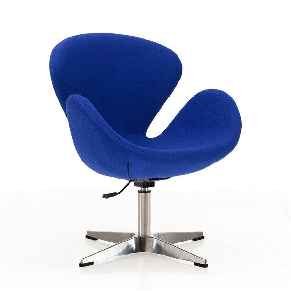 Chaise pivotante Rasberry moderne en chrome poli et laine bleue de Manhattan Comfort