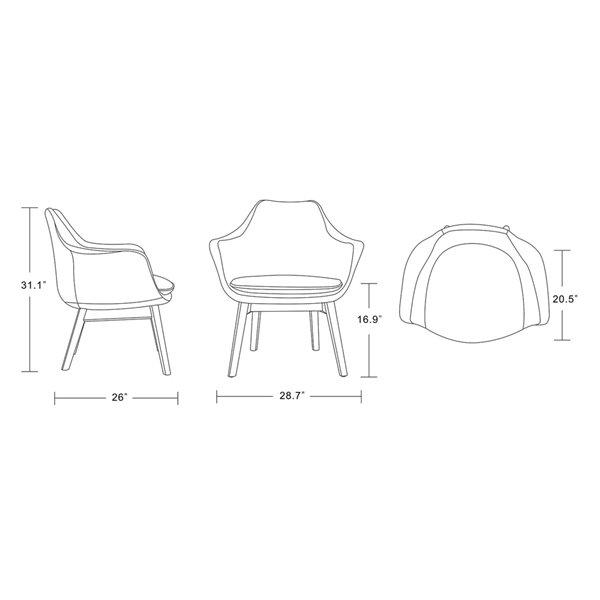 Ensemble de 2 chaises pivotantes Cronkite en similicuir orange et noyer de Manhattan Comfort