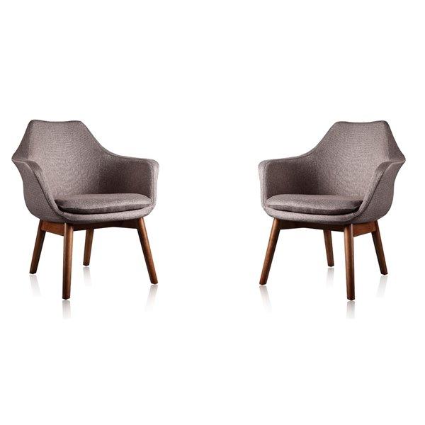 Ensemble de 2 chaises pivotantes Cronkite en similicuir gris et noyer de Manhattan Comfort