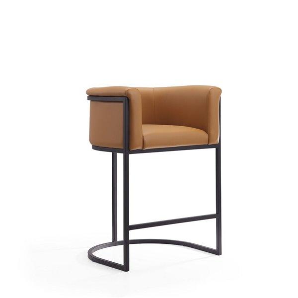 Tabouret de bar rembourré Cosmopolitan chameau et noir, hauteur de comptoir (22 po à 26 po) par Manhattan Comfort